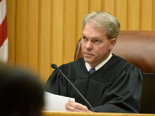 Knox County Criminal Court Judge Steven Sword presides over a hearing in the cases against Christopher D. Bassett and Richard G. Williams, who are charged in the Zaevion Dobson murder case, on Feb. 24, 2017.
