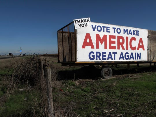 This photo shows a Donald Trump campaign sign along a highway near Los Banos.