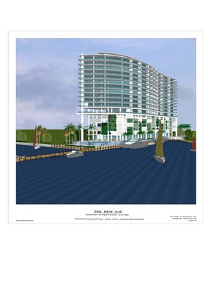 A concept drawing of the new Vue to be presented at Wednesday's planning meeting shows the proposed water-view units with private dock space in lieu of public river walk in earlier PUD.