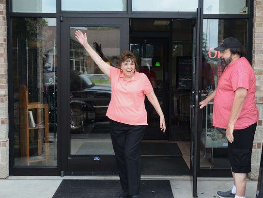 Jeanette Coutelle walks out of Wadhams Country Kitchen
