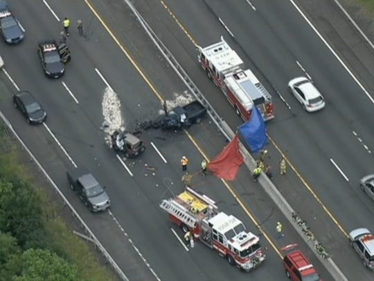 An aerial view of the aftermath of the fatal wrong-way crash on the New York State Thruway in Suffern.