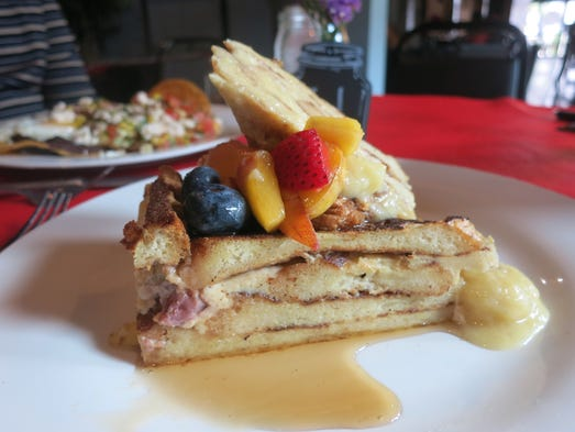 French toast pudding with fresh summer fruit, banana