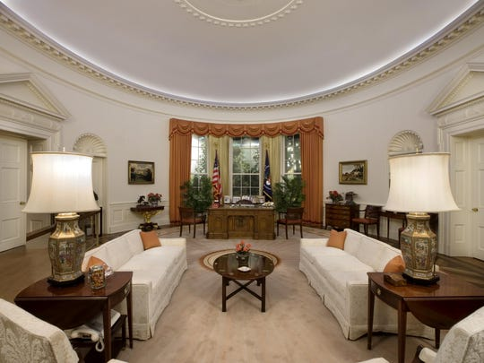 As you tour the full-scale office replica, Reagan's western roots are evident—from the earthy colors to western art, including a collection of bronze saddles.