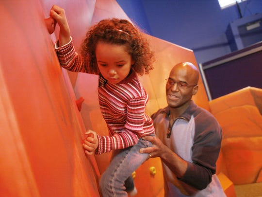 "A climbing canyon is part of the new ""Run! Jump! Fly! Adventures in Action"" exhibit at the Sciencenter in Ithaca."