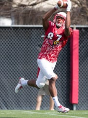 Louisville Cardinals wide receiver Dez Fitzpatrick catches the ball during the UofL Football Open Practice session.
