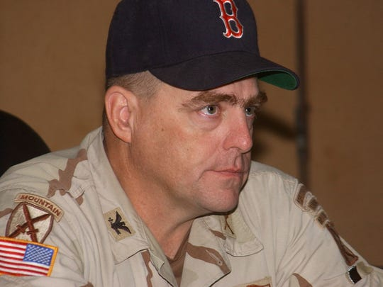 Then-Col. Mark A. Milley, a Winchester, Ma. native, watched Game 2 of the 2004 World Series from a conference room in Iraq. He is a big Boston fan.