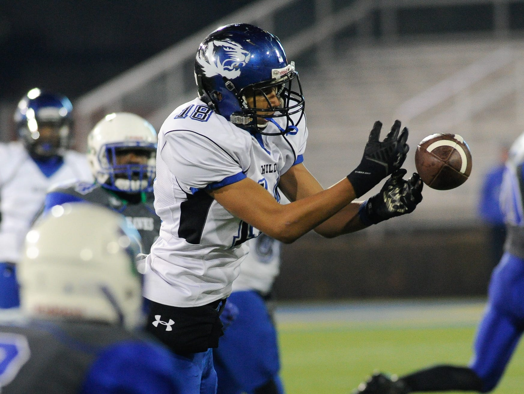 Howard's #18 Shawn Bowman with a catch in the Division II championship against St. George's.