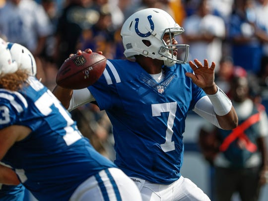 Indianapolis Colts quarterback Jacoby Brissett (7) drops back to pass against the Los Angeles Rams in the fourth quarter at Los Angeles Memorial Coliseum in Los Angeles on Sunday, Sept. 10, 2017.