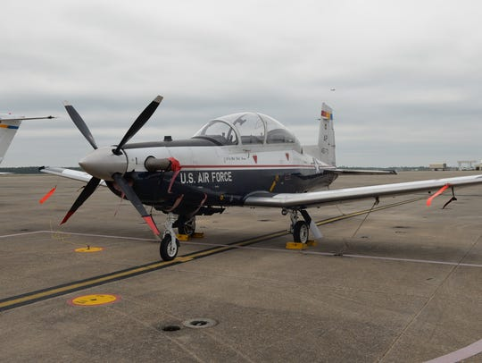 A T-6 Texan II A aircraft flown by Air Force pilots