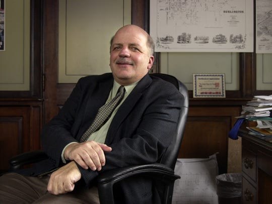 FILE: The City of Burlington Mayor Peter Clavelle sits