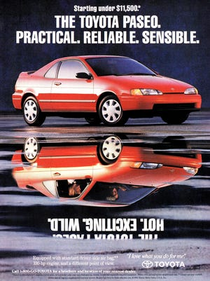 The Toyota Paseo was introduced in 1991 and lasted through 1997 in the U.S. market. It was built on the subcompact Tercel platform.