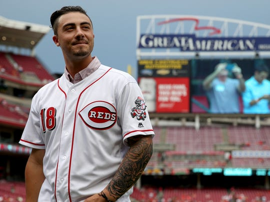 Cincinnati Reds first-round pick Jonathan India is recognized before the interleague baseball game between the Chicago White Sox and the Cincinnati Reds, Tuesday, July 3, 2018, at Great American Ball Park in Cincinnati.