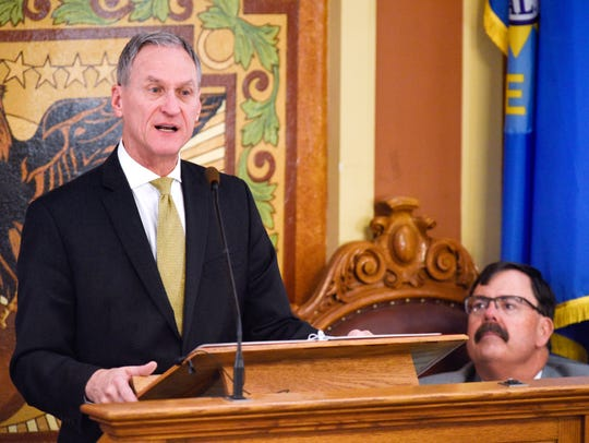 South Dakota governor Dennis Daugaard gives the 2018