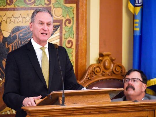 South Dakota governor Dennis Daugaard gives the 2018
