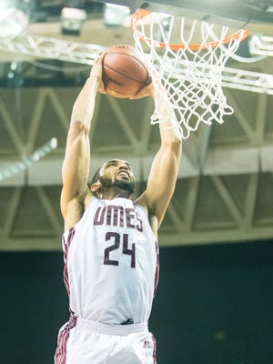 UMES forward Derrico Peck (24) goes up for a two hand slam against Morgan State during the MEAC Tournament at The Scope in Norfolk on Tuesday, March 8.