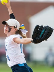 Cape Henlopen pitcher Riley Shields (19) throws to