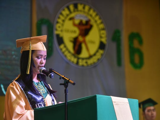 Class Valedictorian Sandra Levina delivers her valedictory address during the John F. Kennedy High School 2016 Commencement at the University of Guam Calvo Field House in Mangilao on June 3.