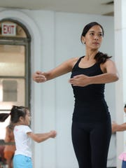 SKIP dance instructor Francine Saymo demonstrates a chaînés during her Beginning Jazz class at the SKIP Entertainment Company studio in Hagåtña on Feb. 13.