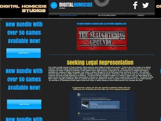 A screenshot of Digital Homicide's website on Wednesday,