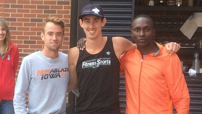 The top three men at Sunday's Capital Pursuit: Zach Baker, Brogan Austin, Sammy Rotich.