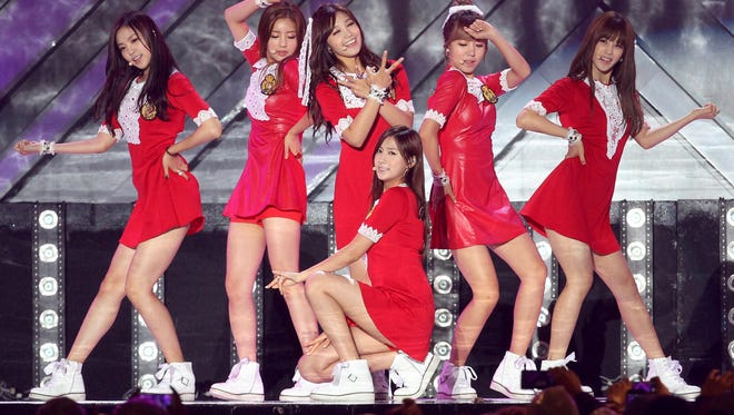 South Korean K-Pop girl group Apink performs during Hallyu Dream Concert in Gyeongju, South Korea Oct. 6, 2013.