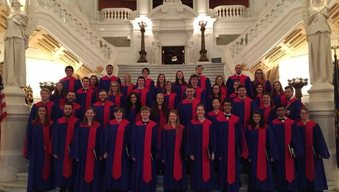 the Shippensburg University Concert Choir, photographed in the rotunda of the Pennsylvania State Capitol.