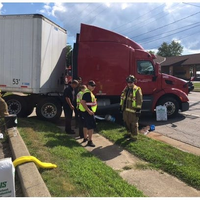 A fuel tank ruptured on a Family Dollar semi Wednesday