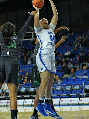 MTSU forward Alex Johnson goes up for a basket in a game against North Texas at Murphy Center on Jan. 18, 2018.
