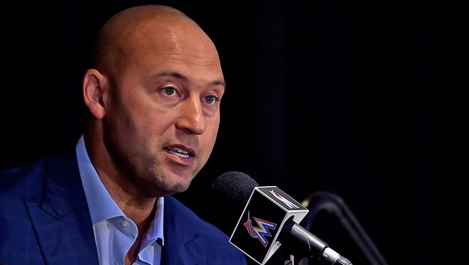 Derek Jeter addresses the media at Marlins Park in Miami after being introduced as Marlins chief executive officer on Oct. 3.