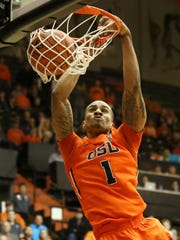 Oregon State's Gary Payton II makes a slam dunk at OSU's Jan. 22 game against UCLA at Gill Coliseum in Corvallis.
