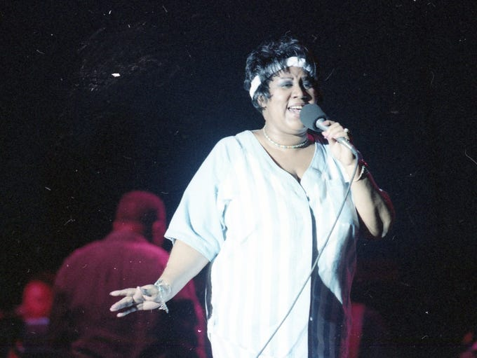 Aretha Franklin performs at the Michigan Festival on