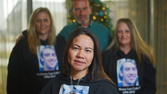 Cat Lee (front) of Los Angeles; Jennifer Gabriel (back, from left), sister of Anthony Gabriel; David Gabriel, Anthony's dad; and Vickey Lutz, Anthony's mom, gathered Dec. 7 at the Fairfield Inn & Suites Sioux Falls Airport. Lee was the recipient of Anthony Gabriel's right kidney.
