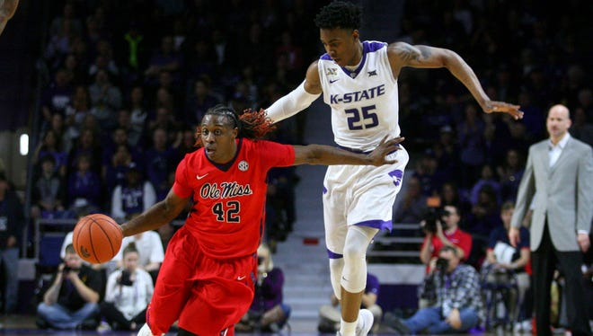 Ole Miss guard Stefan Moody brings the ball up the court against Kansas State last Saturday. He's battling a strained left hamstring that has limited him the past two weeks.
