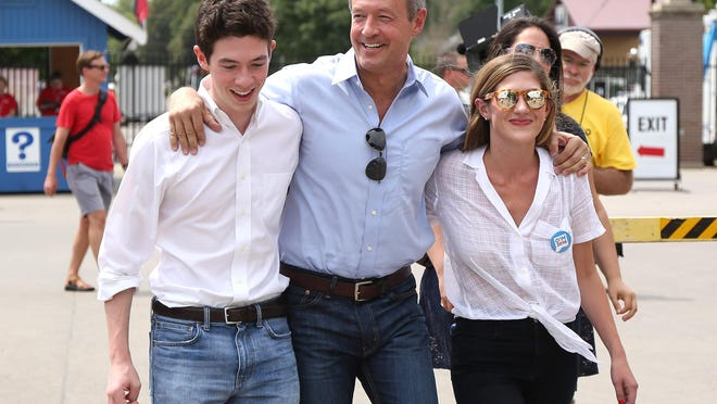 Democratic presidential candidate Martin O'Malley visited the Iowa State Fair with two of his children, William and Grace, on Thursday, Aug. 13, 2015, in Des Moines.