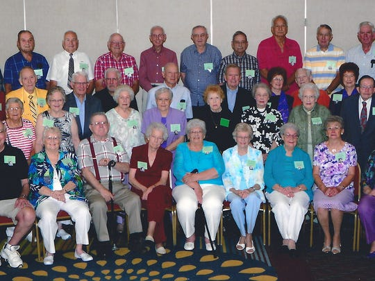 """Members of the Wilson Memorial High School Class of 1951 gathered for their 65th reunion this past summer at the Holiday Inn near Staunton. (Courtesy Class of 1951)  A portion of """"The Echo,"""" the WMHS school newspaper from the spring of 1951. (Courtesy Gay Meeks)  School buses, most driven by high school students, brought students to WMHS (Virginia's largest high school) from across the county. (WMHS annual)"""