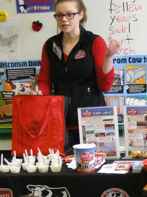 Mara Budde of Sassy Cow Creamery demonstrated to students in Fox Lake. The Wisconsin Historical Museum, Old World Wisconsin, The Hoard Historical Museum & National Dairy Shrine, and Sassy Cow Creamery will join forces to celebrate National Dairy month with the free, family-friendly event  on June 19.