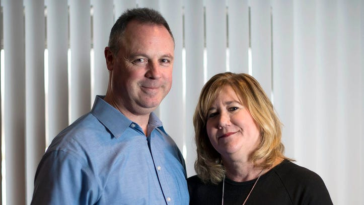 Steve Horaney and his wife, Kari Horaney, pose on Monday,