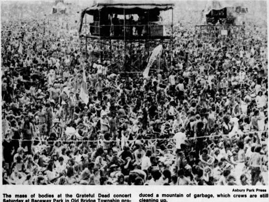 A portion of the massive crowd at the Grateful Dead show at Raceway Park, 1977.