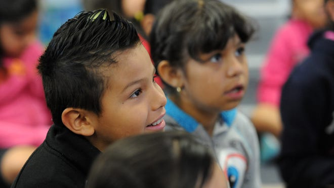 Anderson Elementary students listen in April during a third grade class where they are learning Common Core math curriculum.