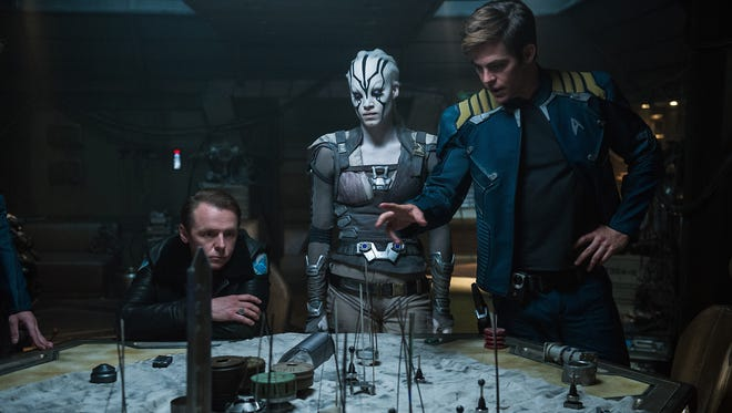 Simon Pegg, Sofia Boutella and Chris Pine star in 'Star Trek Beyond.'
