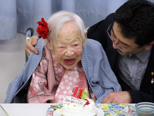Misao Okawa celebrates her 116th birthday March 5 at a nursing home in Osaka, Japan.