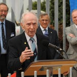 """This 2013 file photo shows wartime test-pilot Capt. Eric """"Winkle"""" Brown in Farnborough, England. Brown, a pilot who flew more kinds of aircraft than anyone in history and was the first person to land a jet on an aircraft carrier, died Feb. 21 at the age of 97."""