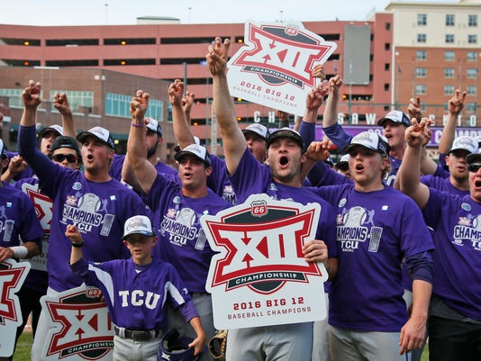 TCU players celebrate following the championship game against West Virginia in the NCAA college Big 12 conference baseball tournament in Oklahoma City, Sunday, May 29, 2016. TCU won 11-10 in ten innings. (AP Photo/Sue Ogrocki)
