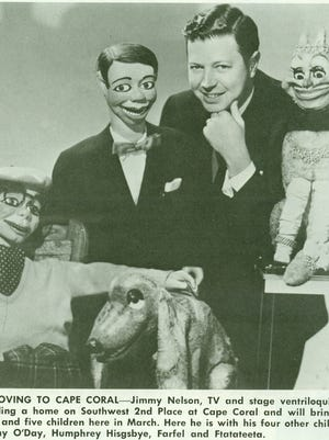 A newspaper item announcing that ventriloquist Jimmy Nelson was moving to Cape Coral in 1968.