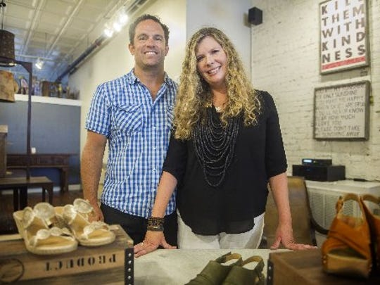 Scott Schimmel and Lisa Sorensen have opened a Bliss Home store in Louisville, Ky. The couple are seen in their Market Square store in July, 2016.