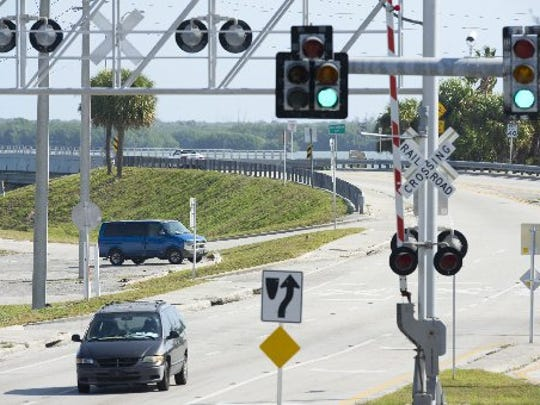 The intersection of Old Dixie Highway and State Road A1A in St. Lucie County is shown. The Florida Department of Transportation is considering constructing the new North Causeway bridge over the nearby railroad tracks.