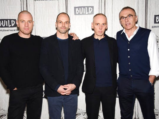 "Actors Ewan McGregor, left, Jonny Lee Miller and Ewen Bremner pose with director Danny Boyle, right, backstage at the BUILD Speaker Series to discuss the film, ""T2 Trainspotting"", at AOL Studios on Tuesday, March 14, 2017, in New York."