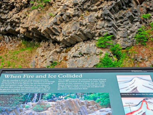 This Sept. 6, 2008 photo provided by John Chao shows the Fire & Ice sign in Mount Rainier National Park in Washington. Photographer John Chao captured this good example of how interpretive signs work best: this panel in the park is placed in front of the geological feature it describes, so visitors can see the landscape and read about it at the same time.