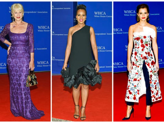 FILE - In this combination photo, actresses Helen Mirren, from left, Kerry Washington and Emma Watson appear at the White House Correspondents' Association Dinner in Washington on April 30, 2016. The annual White House Correspondents' Association dinner — traditionally the most-glittery night on the Washington social calendar, where A-list celebrities sprinkle their stardust as coveted guests of media organizations — will have a different vibe this year. So as opposed to last year, when guests at President Barack Obama's final dinner included Watson, Washington and Helen Mirren, this year's big stars seem to be Bob Woodward and Carl Bernstein.