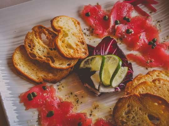 In addition to steak and seafood, Seven Seas also offers a variety of small plates, including tuna carpaccio.
